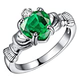 FENDINA Womens Silver Plated Gorgeous Created Heart Emerald Claddagh Rings Solitaire Promise Engagement Wedding Bands Eternity Collection Anniversary Rings for Her Valentin's Day Gifts