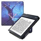 kwmobile Funda Compatible con Kobo Libra H2O - Carcasa magnética de Origami para e-Book - Noche mágica Amarillo/Rosa Claro/Azul