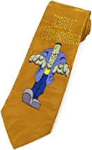 Men's Happy Halloween Frankenstein Bronze Silk Regular Length Neck Tie
