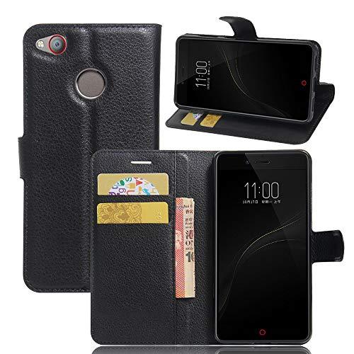 Tasche für ZTE Nubia Z11 Mini S Hülle, Ycloud PU Ledertasche Flip Cover Wallet Hülle Handyhülle mit Stand Function Credit Card Slots Bookstyle Purse Design schwarz