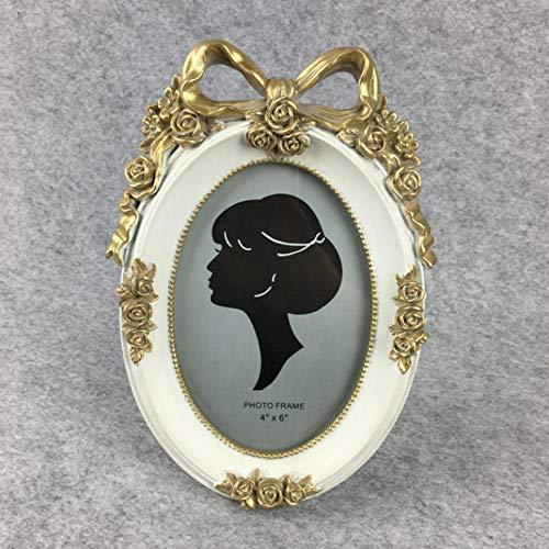 Fotolijst voor foto Home Portrait Family Fotolijst Fotoalbum Ellips eenvoudig cadeau 6 inch met strik retro creatief voor bruiloft