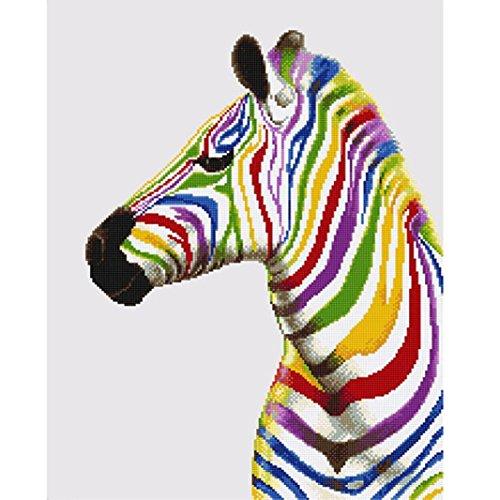 SO-buts 5D DIY Diamond Schilderen Borduurwerk Cross Stitch Arts Craft Canvas Muurdecoratie Borduurwerk Schilderijen Strass Gift-Zebra,Paarden (A)