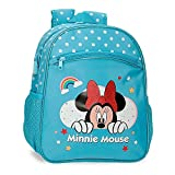 Disney Minnie Rainbow Mochila Escolar Adaptable a Carro Azul 27x33x11 cms Poliéster 9,8L