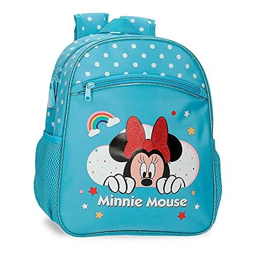 Disney Minnie Rainbow Mochila Escolar Adaptable a Carro Azul 27x33x11 cms Poliéster 9,8L