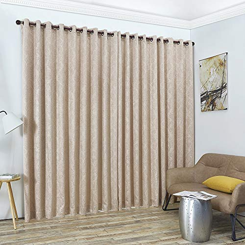 "Warm Home Designs 2 of 108"" (Width) X 108"" (Length) Wall to Wall Beige Taupe Textured Embossed Room Divider Curtains with 2 Matching Tie-Backs. Total Width is 216 Inches (18 feet). EV Taupe Wall 108"""