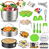 MIBOTE 101 PCS Accessories Set for Instant Pot 5,6,8 Qt, 2 Steamer Baskets, Springform Pan, Egg...