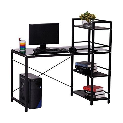 HOMCOM 50' Multi Shelf Tower Office Workstation Computer Desk - Black