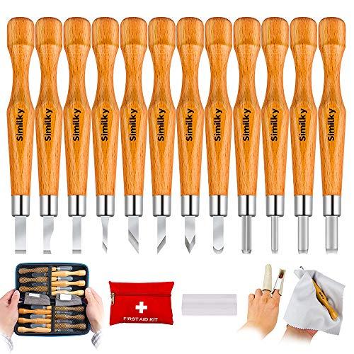 SIMILKY - Juego de 12 herramientas de tallado de madera de carbono SK7, con funda protectora, para manualidades, calabazas pequeñas, jabones, verduras y más para niños y principiantes