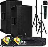 (2) Mackie Thump12A THUMP-12A 1300W 12' Powered Loudspeaker (Pair) with EMB Speaker Stand + EMB Microphone and EMB XLR Cable Bundle