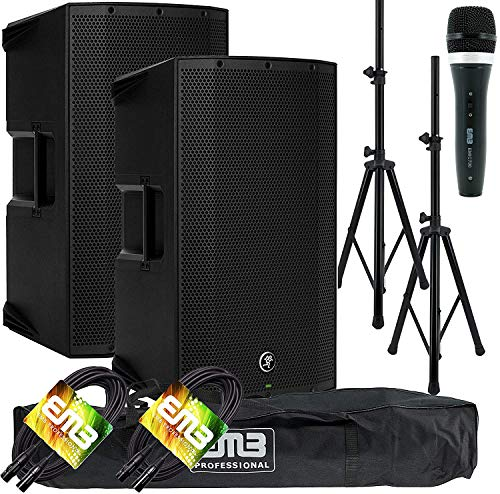 "(2) Mackie Thump15A THUMP-15A 1300W 15"" Powered Loudspeaker (Pair) with EMB Speaker Stand + EMB Microphone and EMB XLR Cable Bundle"