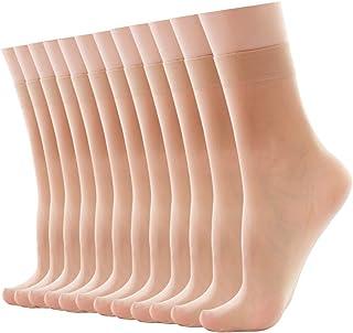 Women's Ankle High Nylon Sheer Socks, 12 Packs Pop Socks(In Packaging Box)