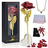 Ozrpn Rosa Eterna,con Base expositora en Forma de corazón,Tarjeta de felicitación y Collar de Amor,Adecuado para el Día de la Madre,el Día de San Valentín,Navidad,cumpleaños,Aniversarios de Boda