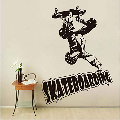 NKJBUVT Skateboard Sport Mann Kunst Wandaufkleber Abziehbilder Wandbild Aushöhlen Design Tapete Vinyl Boy Room Home Decoration 56 * 78 cm
