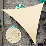 ColourTree 16' x 16' x 16', Beige Triangle TADT16 Waterproof Sun Shade Sail Canopy Awning Shelter Fabric, 95% UV Blockage UV & Water Resistant, Outdoor Patio Garden Carport (We Make Custom Size)