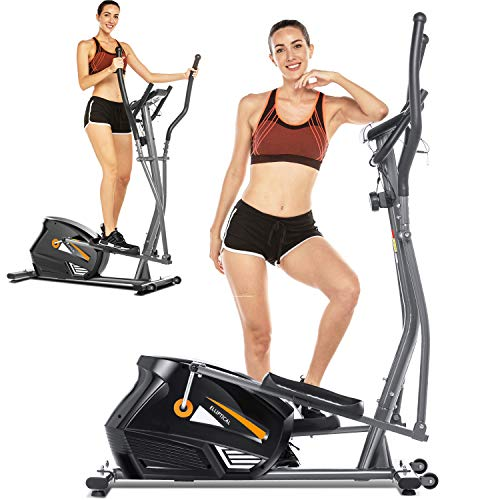 FUNMILY Eliptical Exercise Machine,Elliptical Cross Trainer for Home Use,Heavy-Duty Gym Equipment for Indoor Workout & Fitness with 10-Level Resistance&Max User Weight:390lbs (Gray)