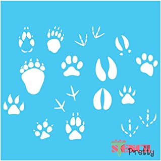 Standard Brilliant Blue Color Material Animal Paws Stencil - Bear Dog Duck Claws & Hooves Template-M (17
