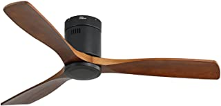 Sofucor Low Profile Ceiling Fan DC 3 Carved Wood Fan Blade Noiseless Reversible Motor Remote Control Without Light