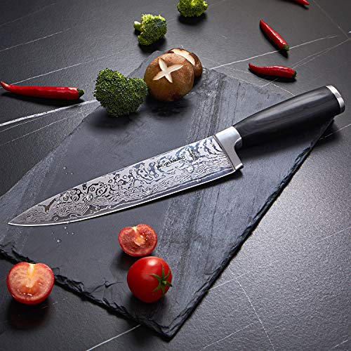 MICHELANGELO Super Sharp Professional Chef's Knife with Etched Damascus Pattern, High Carbon Stainless Steel Japanese Knife, Chef Knife for Kitchen - 03