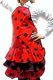 Delantal Flamenca Económico Color Rojo y Lunares Negros Talla ünica de Adulto. Material Algodón y Poliéster.