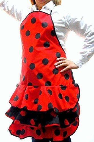 Delantal Flamenca Económico Color Rojo Lunares Negros