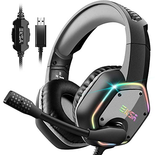 EKSA USB Gaming Headset - PC Headset with 7.1 3D Surround Sound Wired...