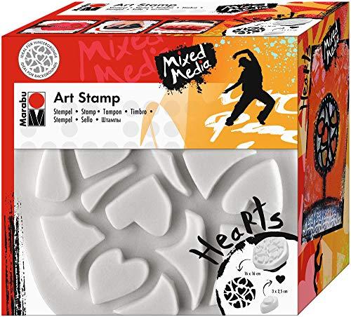 Marabu 0272000000003 - Art Stamp Hearts, feinporiger Motivstempel für Bordüren und Hintergründe, ideal für Mixed Media Projekte auf Leinwand, Papier und Holz, ca. 16 x 16 cm