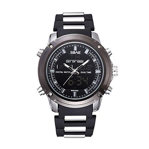 HWCOO SBAO Uhren Herrenuhr Doppel Streifen Outdoor Quarzuhr Sportuhr (Color : 9)