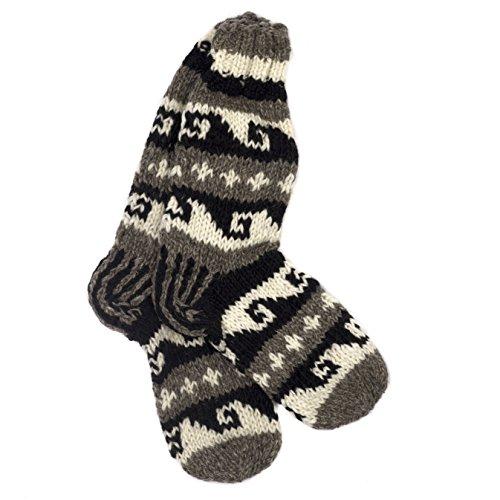 Funky à la main en tricot d'hiver en laine Annapurna Chaussettes – Noir et Blanc - -