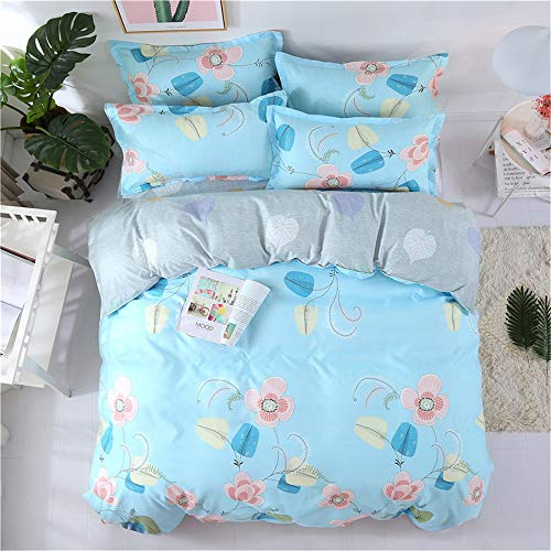 YUNSW Grüne Farbe Schnittmuster Volle Königin King Size Weiche Bettbezug Baumwolle Bettbezug Bettwäsche Set C 200x230 cm