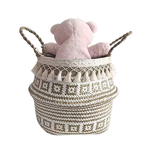 Szetosy - Cesta de junco para almacenamiento de Goodchance UK, con pompones. Cesta plegable tejida y con asa para ropa, juguetes, plantas o para usar en el cuarto del bebé, Estilo#16, 32x28cm