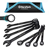 DURATECH 144-Position Ratcheting Wrench Set, Metric, Chrome Vanadium steel, Black Chrome finish, with Rolling Pouch