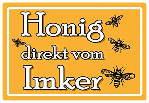 Blechschild 20x30cm gewölbt Honig direkt vom Imker Bienen Hinweis Deko Geschenk Schild