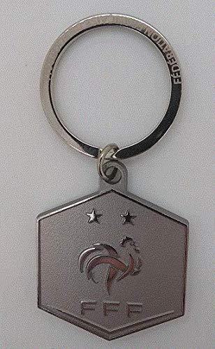 Fédération Francaise de Football Schlüsselanhänger Logo FFF, Metall, Unisex, Erwachsene, Silber, 9 cm