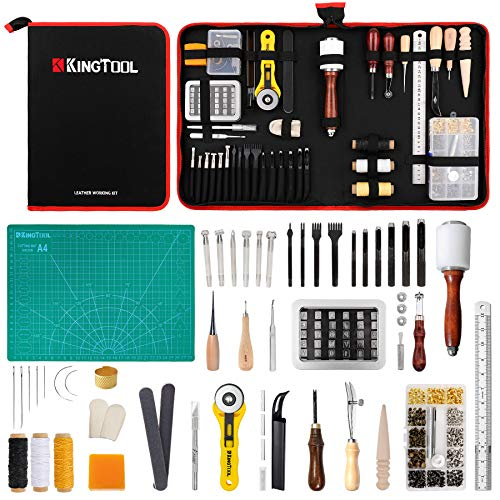 275 pcs Advanced Leather Sewing Tools and Supplies with Carrying Organizer Cutting Mat Stamping Tools Needles Snaps and Rivets Kit Perfect for Stitching Punching Cutting Sewing Leather Craft Making
