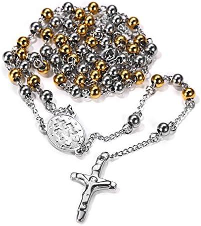 FaithHeart Christian Virgin Mary Miraculous Medal Rosary Bead Charms Stainless Steel Cross Long product image
