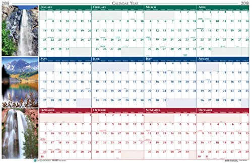 House of Doolittle 2018 Laminated Wipe Off Wall Calendar, Earthscapes Scenic, Reversible, 24 x 37 Inches, January - December (HOD393-18)