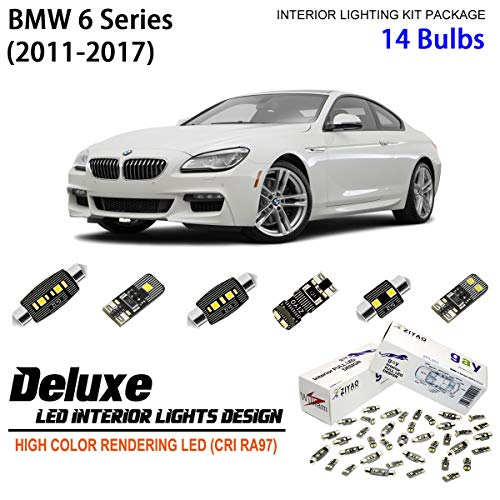 ZIYO ZPL2612 - (14 Bulbs) Deluxe LED Interior Light Kit 6000K Xenon White Dome Light Bulbs Replacement for 2011-2017 BMW 6 Series F06 Gran Coupe