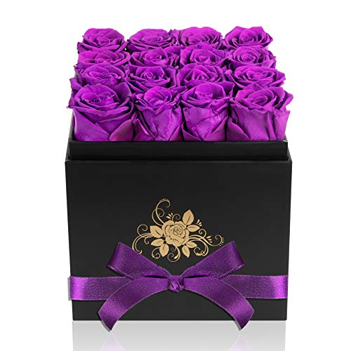Perfectione Roses Luxury Preserved Roses in a Box, Purple Real Roses Romantic Gifts for Her Mom Wife...