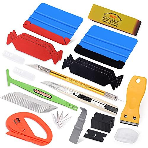 FOSHIO Folierungs Werkzeug Auto Folierung Set Vinyl Wraps Tool Folie Werkzeuge Micro Rakel Schaber skalpell 9mm Cuttermesser Cutterklingen für Car Wrapping Folie
