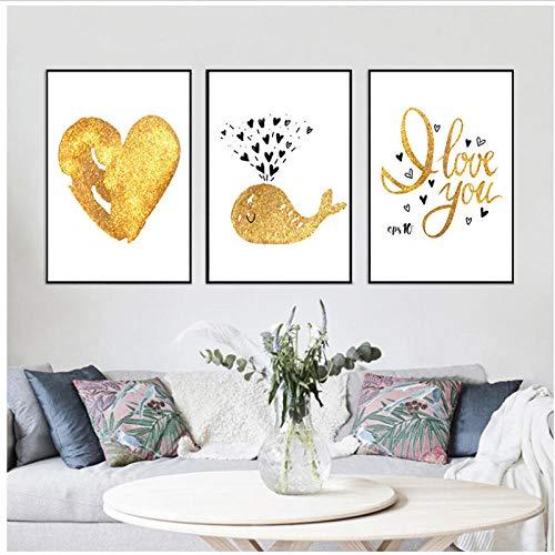 N/A schilderij canvas eenvoudig schattig gouden cartoon Dolphin Love canvas kunst abstract schilderij druk poster afbeelding wand babykamer 40x60cmX3 niet ingelijst