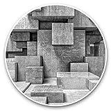 Impresionantes pegatinas de vinilo (juego de 2) 7,5 cm (bw) – diseño de cubos de hormigón abstracto para portátiles, tabletas, equipaje, libros de chatarra, frigorífico, regalo genial #37233
