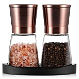 Pepper Grinder, Salt and Pepper Mills with Silicone Stand (2 pcs) Copper Colored Stainless Steel, Set of Salt and Pepper Grinders with Easy Adjustable Ceramic Coarseness, Glass Body