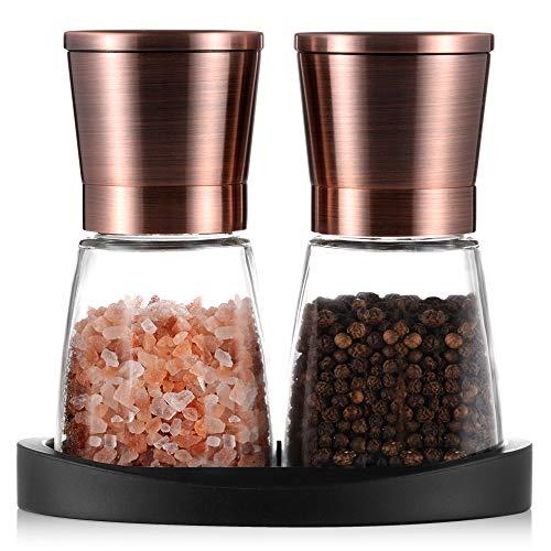 Pfeffermühlen, Salz- und Pfeffermühle mit Silikonständer (2 Stück) Kupferfarbener Edelstahl, Salz- und Pfeffer-Mahlanlagen mit Leicht Einstellbarer Keramischer Rauheit, Glaskörper