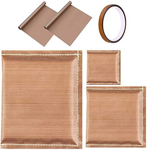 Paquete de 6 almohadas de prensa de calor,Incluye 3 almohadas de transferencia,2 hoja de teflón para prensa de calor y 1 pedazo largo de cinta