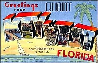MAGNET 3x5 inch Vintage Greetings from KEY WEST Sticker (Old Postcard Art Florida fl) Magnetic vinyl bumper sticker sticks to any metal fridge, car, signs
