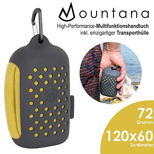 mountana® Sechura Mikrofaser Handtuch mit Tragetasche   Kleinstes Packmaß, Ultra Leicht, Schnelltrocknend   Sporthandtuch, Reisehandtuch, Badehandtuch   Ideal für Reisen, Fitness, Schwimmen