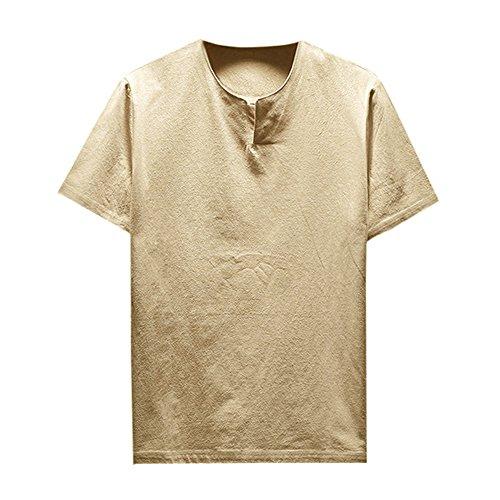 Camisas Hombre Tallas Grandes, Lanskirt Camiseta de Manga Corta para Hombre Blusas de Lino Camisetas Basicas de Color SóLido y con Cuello Redondo Tops Shirt Verano 5XL