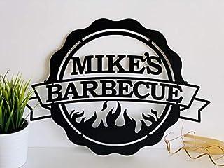 Personnalisé BBQ signe Barbecue sign Cadeau pour les hommes Votre nom Bar & Grill Barre Accessoires et décoration murale I...