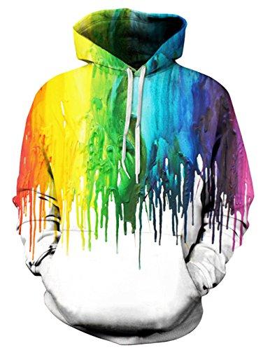 uideazone Uniesx 3D-Druck Hoodies Fleece-Pullover Lustige Kapuzenpullover Sweatshirt für Herren Damen mit Großen Taschen …, Weiß, L