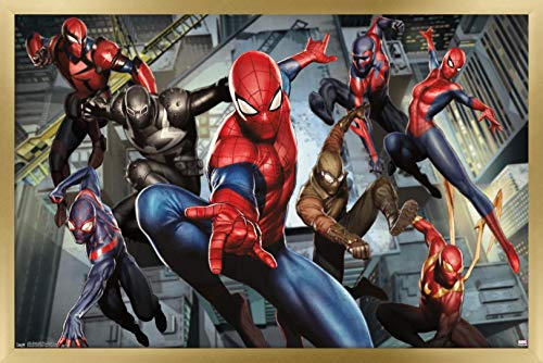 Trends International Marvel Comics - Spider-Man - Ultimate Characters Wall Poster, 22.375' x 34', Gold Framed Version